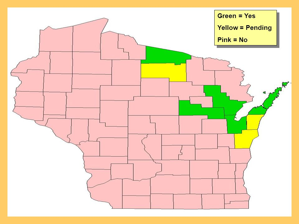 Green = Yes Yellow = Pending Pink = No Green = Yes Yellow = Pending Pink = No