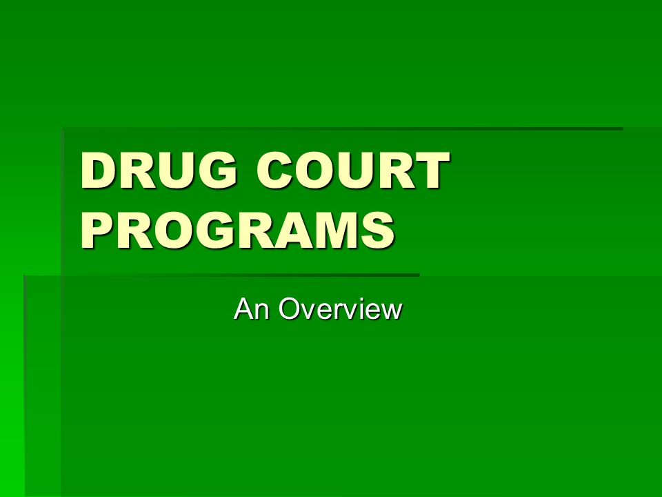 DRUG COURT PROGRAMS An Overview
