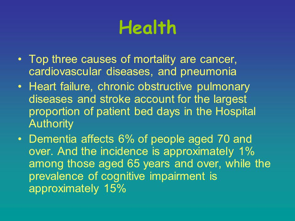 Health Top three causes of mortality are cancer, cardiovascular diseases, and pneumonia Heart failure, chronic obstructive pulmonary diseases and stroke account for the largest proportion of patient bed days in the Hospital Authority Dementia affects 6% of people aged 70 and over.