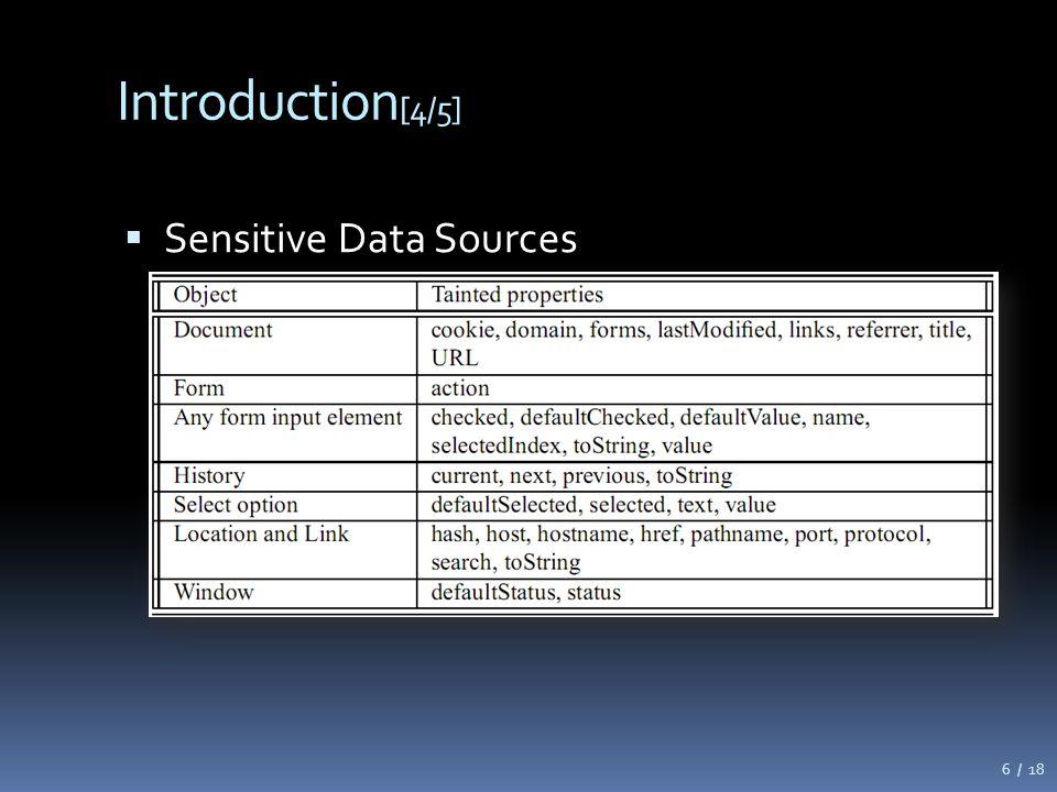 Introduction [4/5]  Sensitive Data Sources 6 / 18