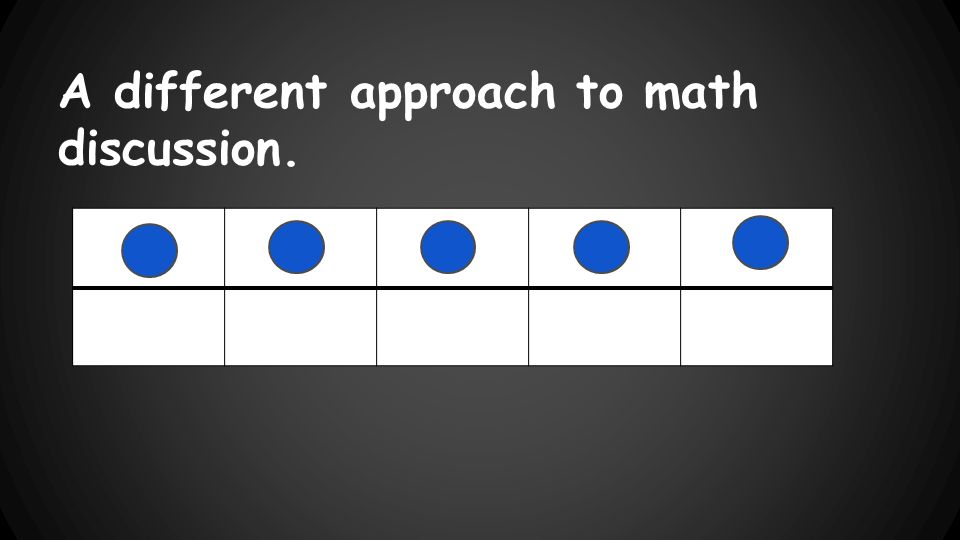 A different approach to math discussion.