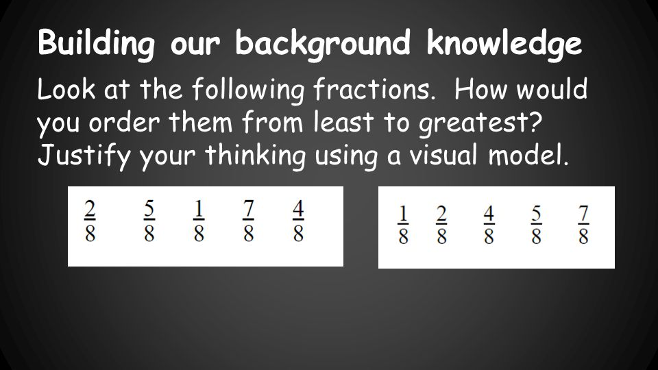 Building our background knowledge Look at the following fractions.