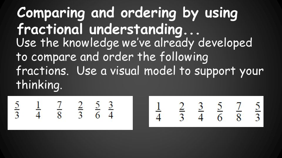 Comparing and ordering by using fractional understanding...