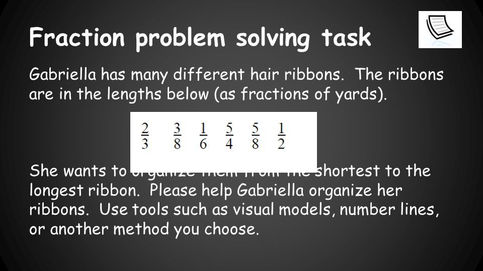 Fraction problem solving task Gabriella has many different hair ribbons.