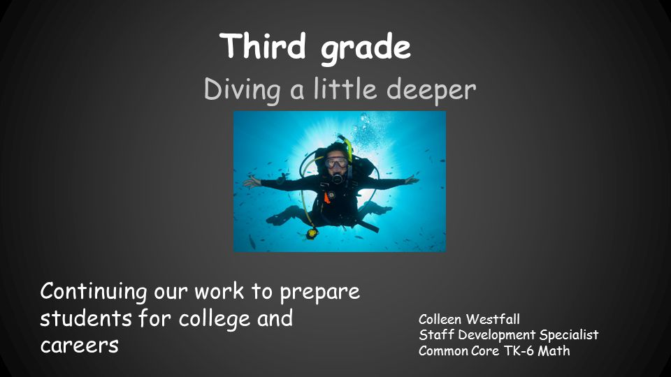 Third grade Diving a little deeper Colleen Westfall Staff Development Specialist Common Core TK-6 Math Continuing our work to prepare students for col