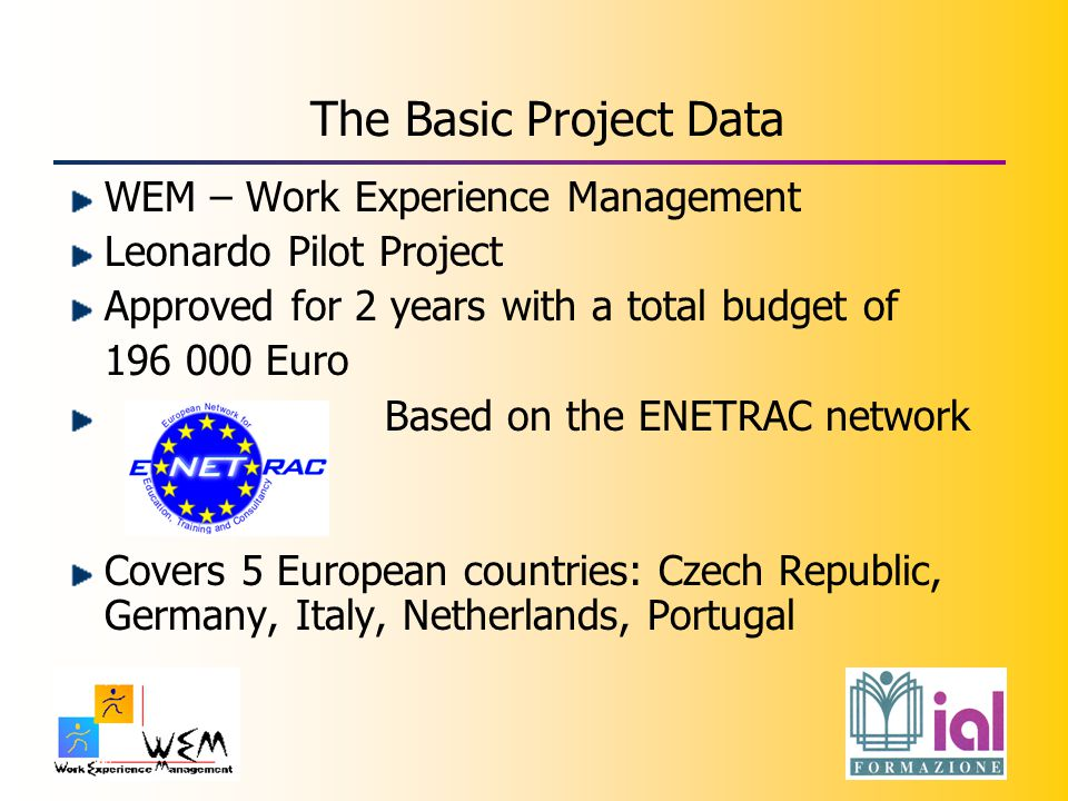 The Basic Project Data WEM – Work Experience Management Leonardo Pilot Project Approved for 2 years with a total budget of 196 000 Euro Based on the ENETRAC network Covers 5 European countries: Czech Republic, Germany, Italy, Netherlands, Portugal
