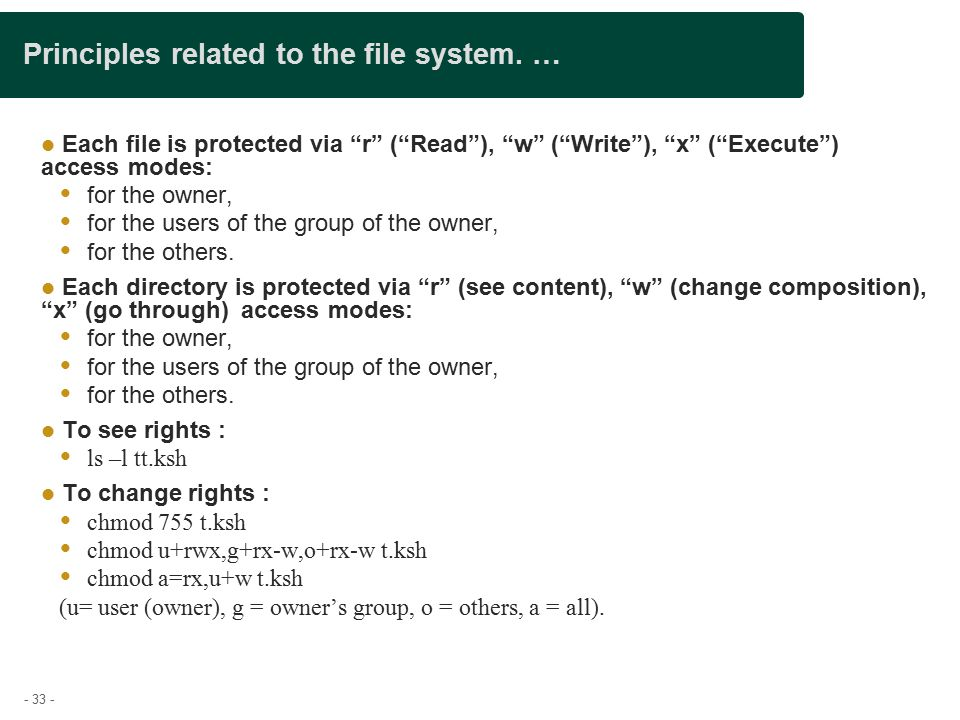 - 33 - Principles related to the file system.