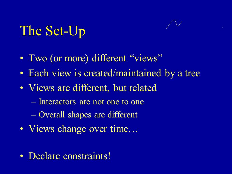 The Set-Up Two (or more) different views Each view is created/maintained by a tree Views are different, but related –Interactors are not one to one –Overall shapes are different Views change over time… Declare constraints!