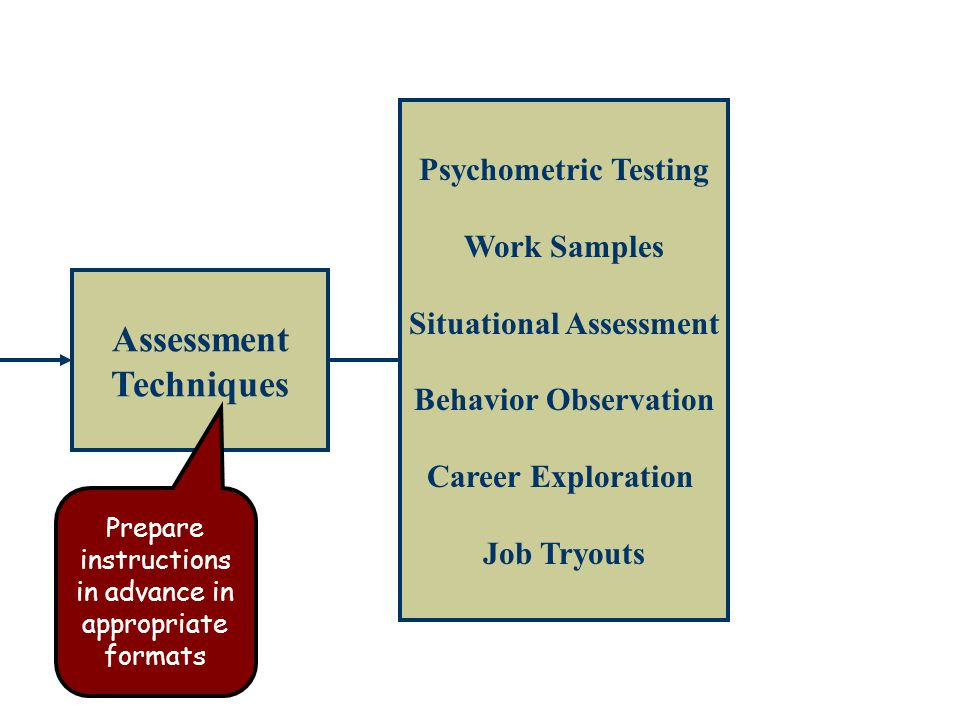 Assessment Techniques Psychometric Testing Work Samples Situational Assessment Behavior Observation Career Exploration Job Tryouts Prepare instructions in advance in appropriate formats