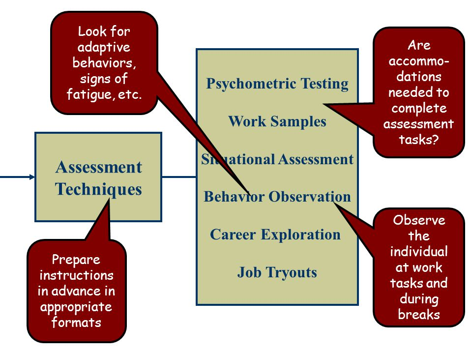 Assessment Techniques Psychometric Testing Work Samples Situational Assessment Behavior Observation Career Exploration Job Tryouts Prepare instructions in advance in appropriate formats Look for adaptive behaviors, signs of fatigue, etc.