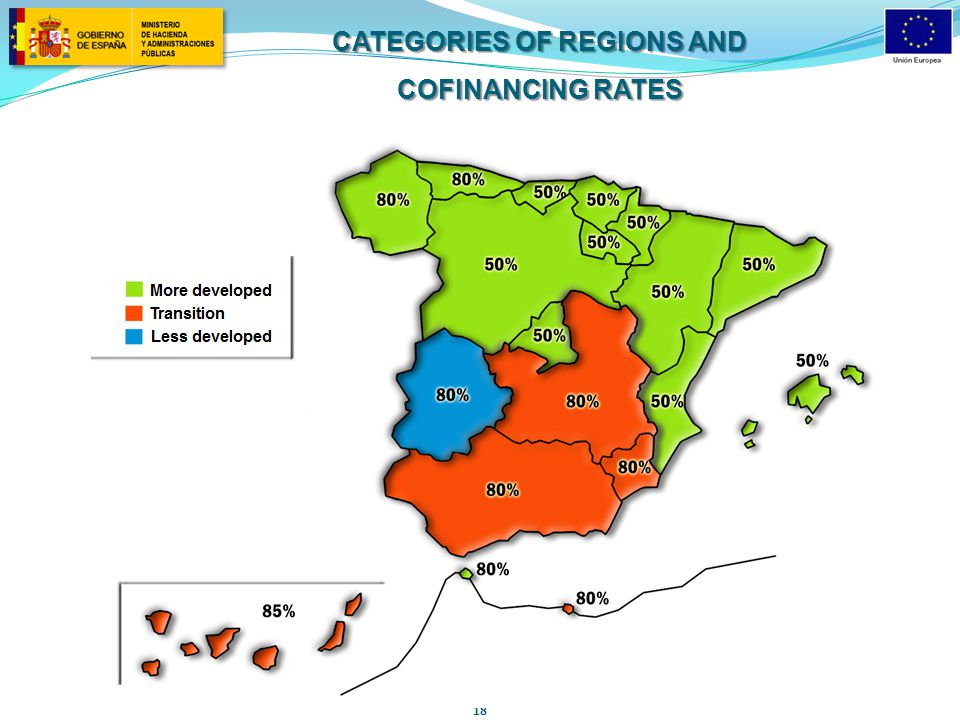 18 CATEGORIES OF REGIONS AND COFINANCING RATES
