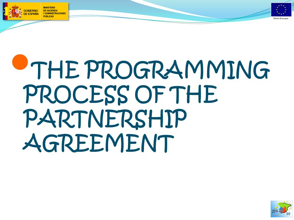 THE PROGRAMMING PROCESS OF THE PARTNERSHIP AGREEMENT 30