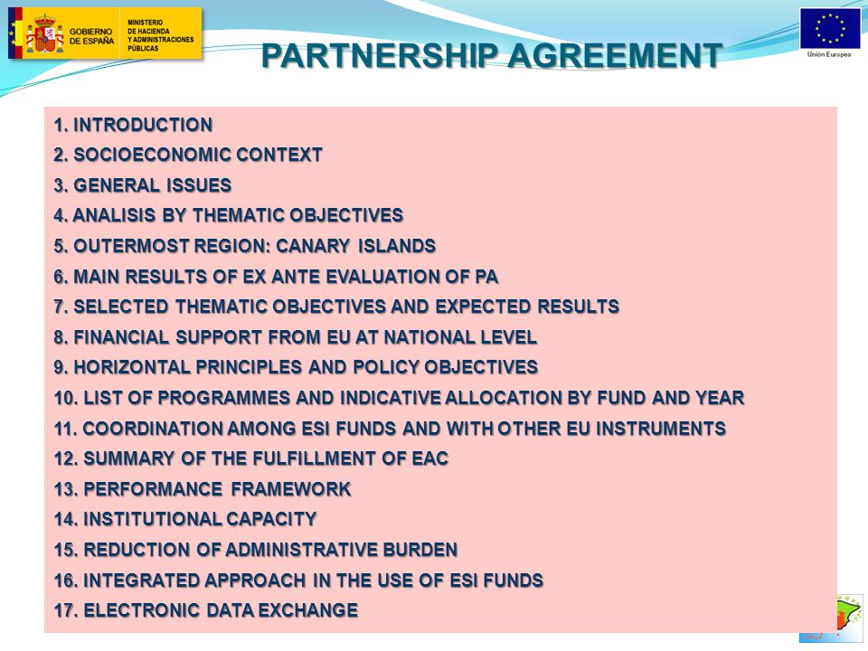 PARTNERSHIP AGREEMENT 1. INTRODUCTION 2. SOCIOECONOMIC CONTEXT 3.
