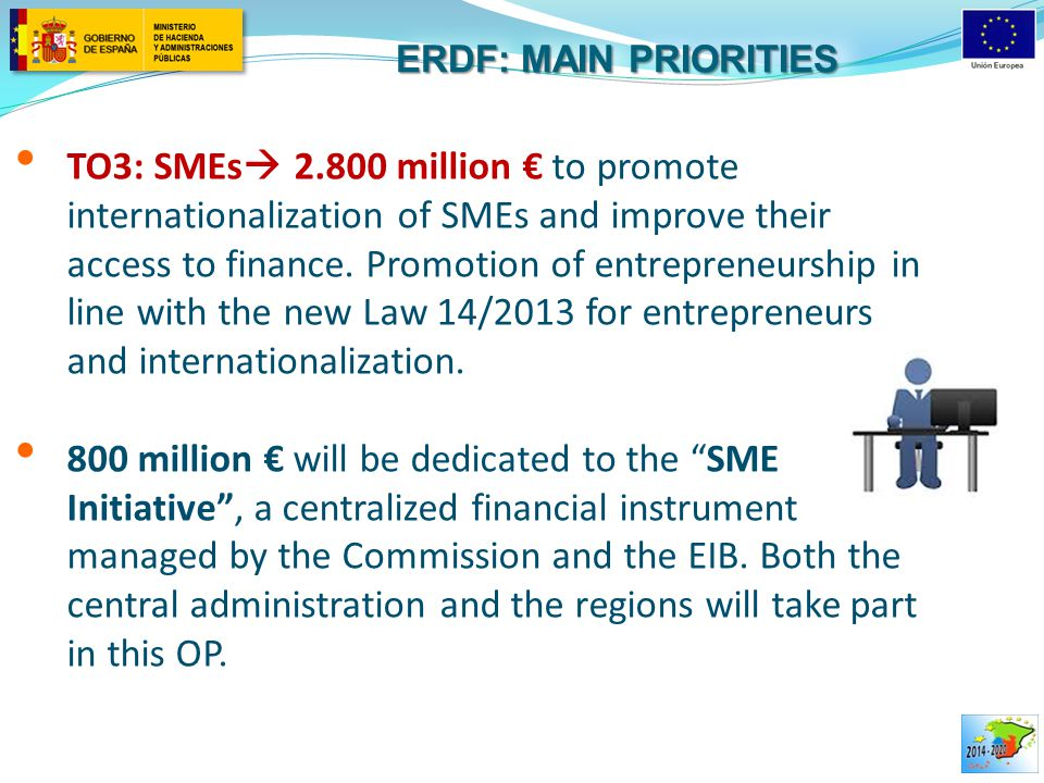 TO3: SMEs  2.800 million € to promote internationalization of SMEs and improve their access to finance. Promotion of entrepreneurship in line with th