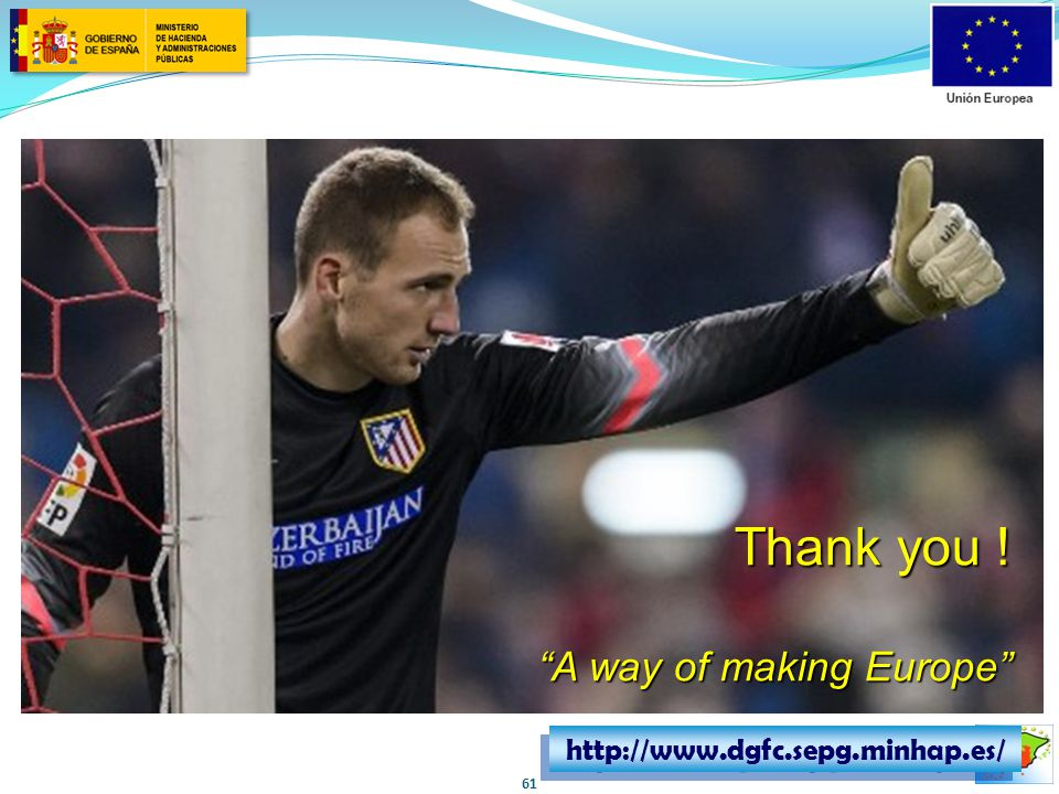 "http://www.dgfc.sepg.minhap.es/ Thank you ! ""A way of making Europe"" 61"