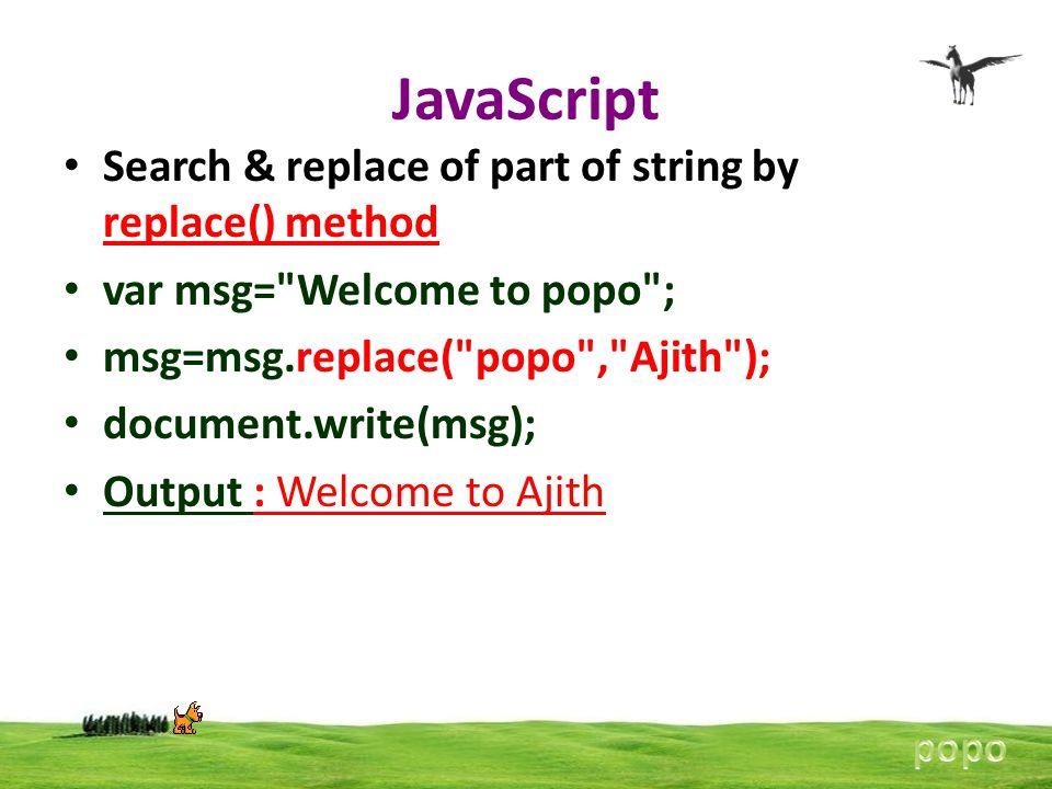 JavaScript Search & replace of part of string by replace() method var msg=