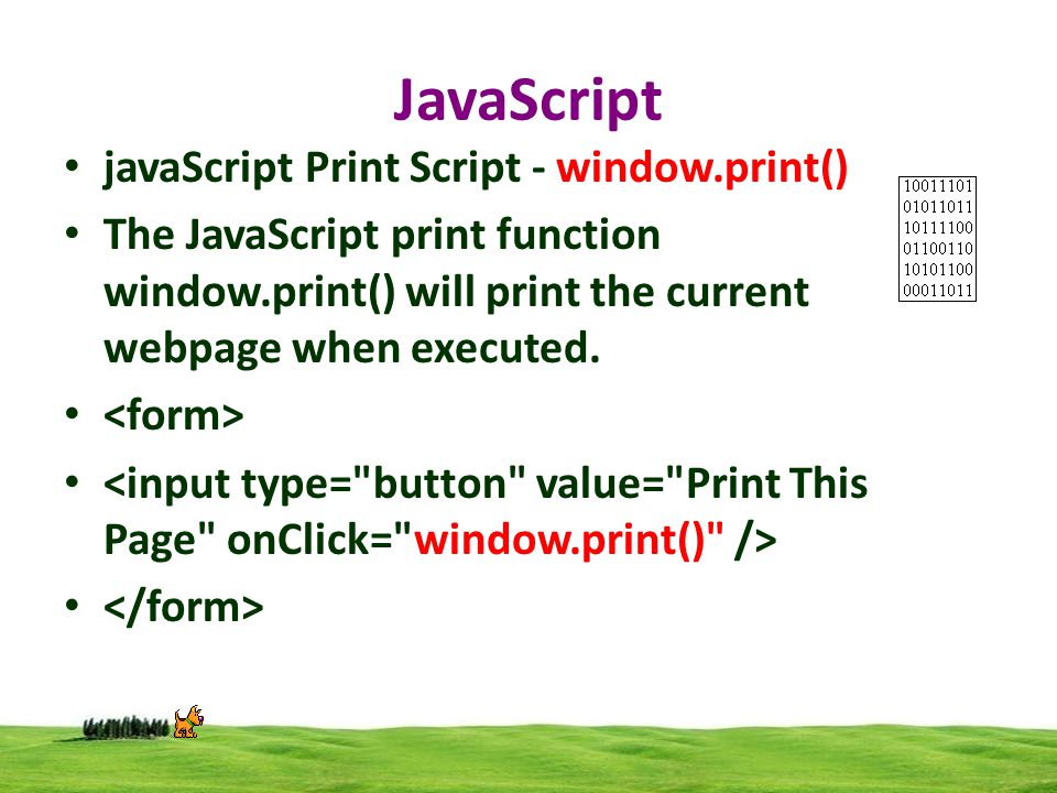 javaScript Print Script - window.print() The JavaScript print function window.print() will print the current webpage when executed.
