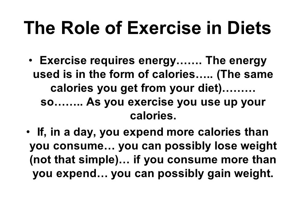 Total Caloric Intake in a Day Total Caloric intake equal to: The Total number of calories consumed minus the total number of calories used (expended) in physical exercise.