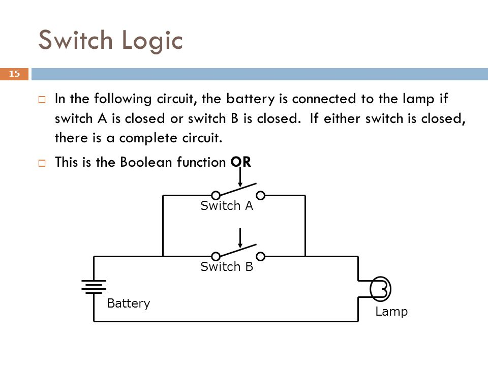 Switch Logic 15  In the following circuit, the battery is connected to the lamp if switch A is closed or switch B is closed.