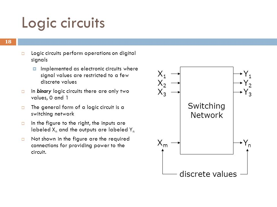 Logic circuits 18  Logic circuits perform operations on digital signals  Implemented as electronic circuits where signal values are restricted to a few discrete values  In binary logic circuits there are only two values, 0 and 1  The general form of a logic circuit is a switching network  In the figure to the right, the inputs are labeled X n and the outputs are labeled Y n  Not shown in the figure are the required connections for providing power to the circuit.