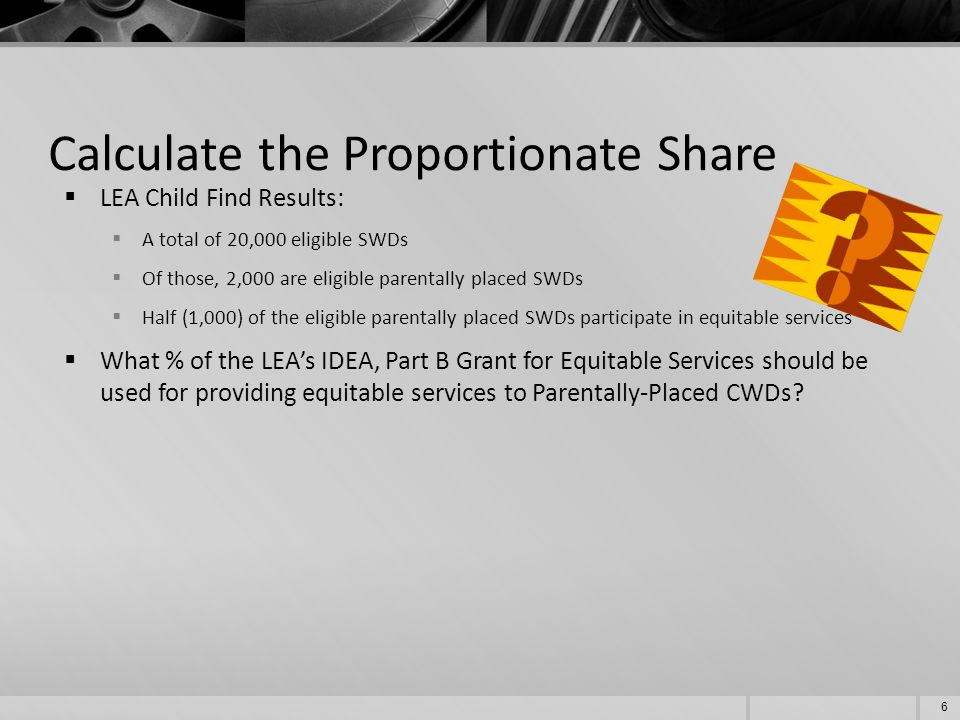 Calculate the Proportionate Share (cont.)  REMEMBER: Calculation based on students eligible, not just those participating.