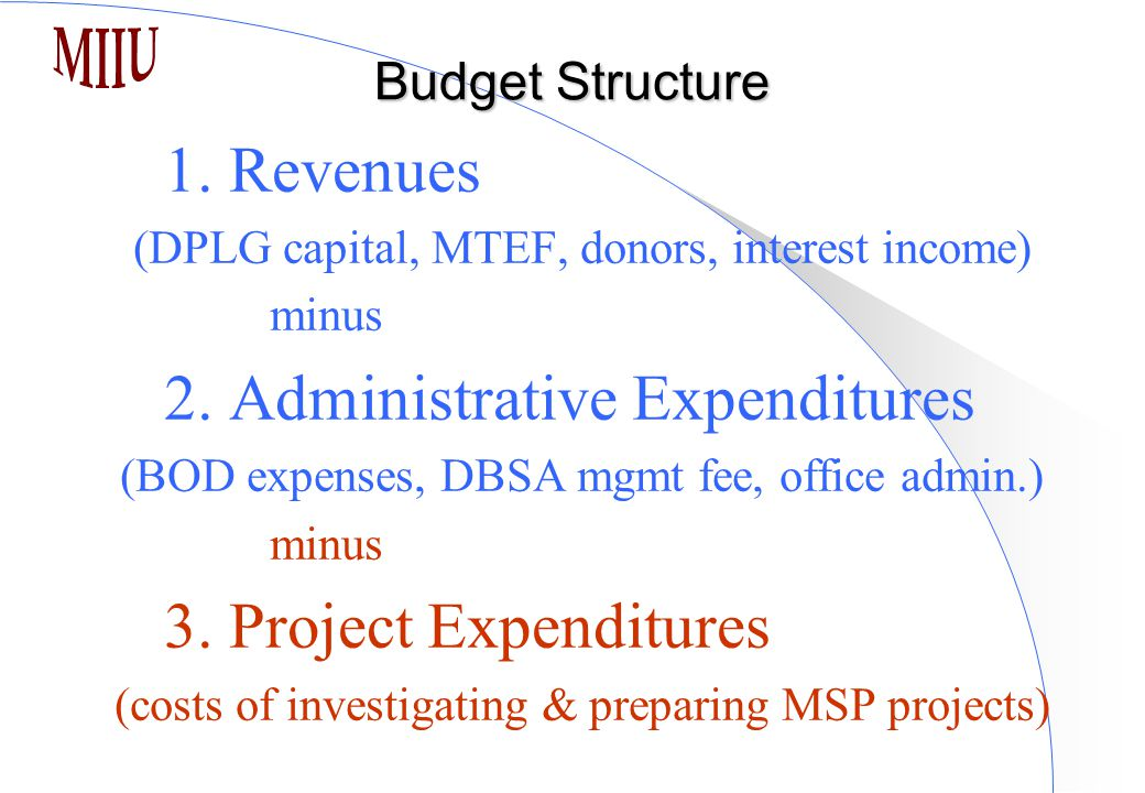 Budget Structure 1. Revenues (DPLG capital, MTEF, donors, interest income) minus 2. Administrative Expenditures (BOD expenses, DBSA mgmt fee, office a