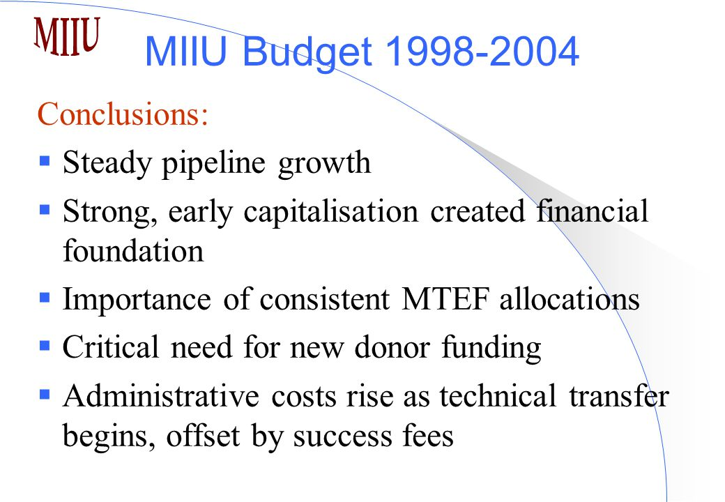 MIIU Budget 1998-2004 Conclusions:  Steady pipeline growth  Strong, early capitalisation created financial foundation  Importance of consistent MTEF allocations  Critical need for new donor funding  Administrative costs rise as technical transfer begins, offset by success fees
