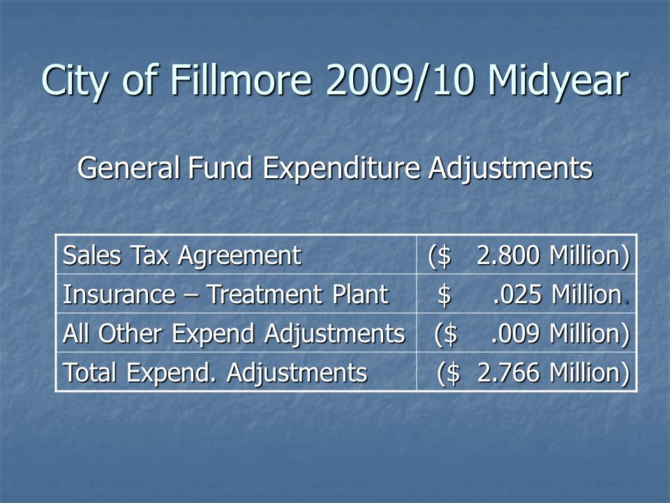 General Fund Expenditure Adjustments City of Fillmore 2009/10 Midyear Sales Tax Agreement ($ 2.800 Million) Insurance – Treatment Plant $.025 Million.