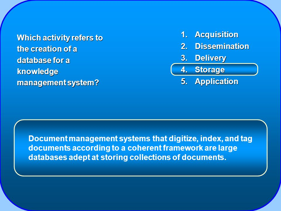 1.Acquisition 2.Dissemination 3.Delivery 4.Storage 5.Application Which activity refers to the creation of a database for a knowledge management system.