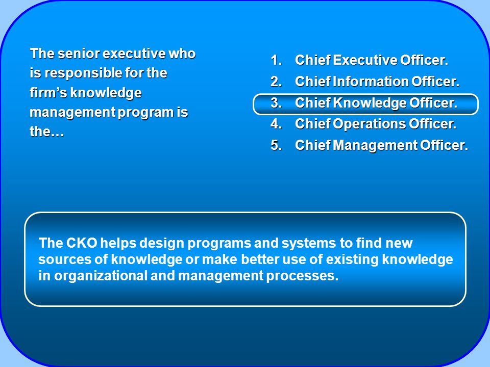 1.Chief Executive Officer. 2.Chief Information Officer.