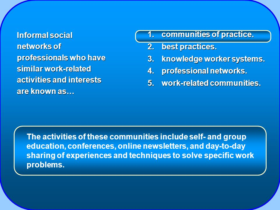 1.communities of practice. 2.best practices. 3.knowledge worker systems.