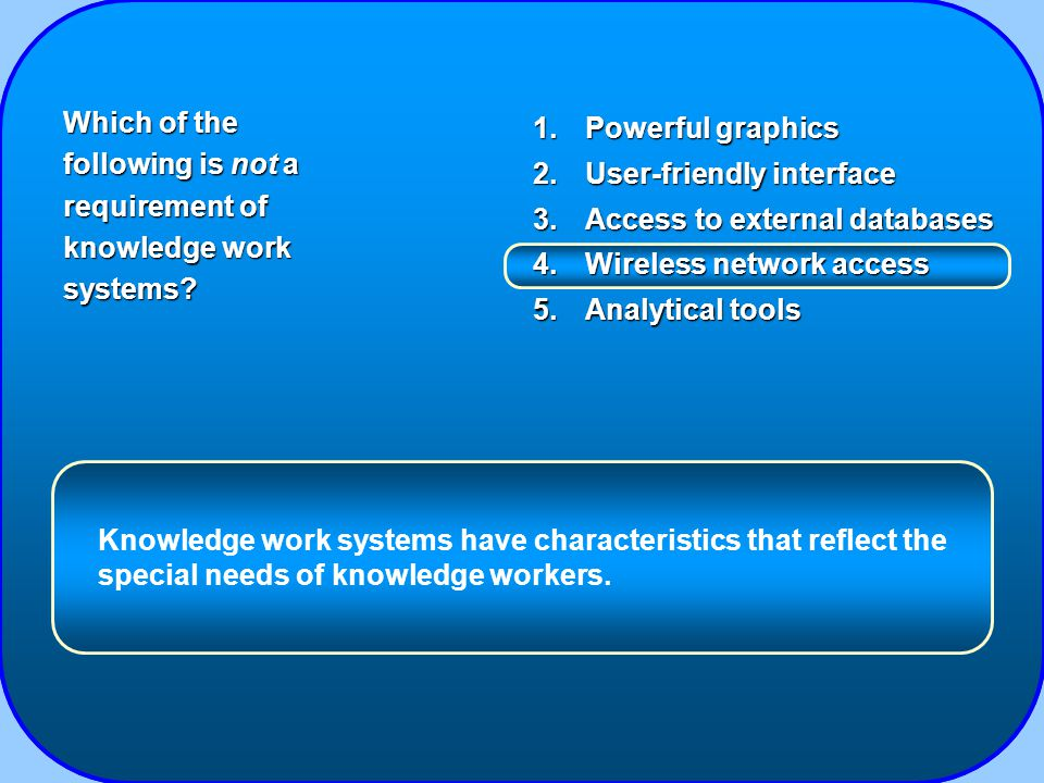 1.Powerful graphics 2.User-friendly interface 3.Access to external databases 4.Wireless network access 5.Analytical tools Which of the following is not a requirement of knowledge work systems.