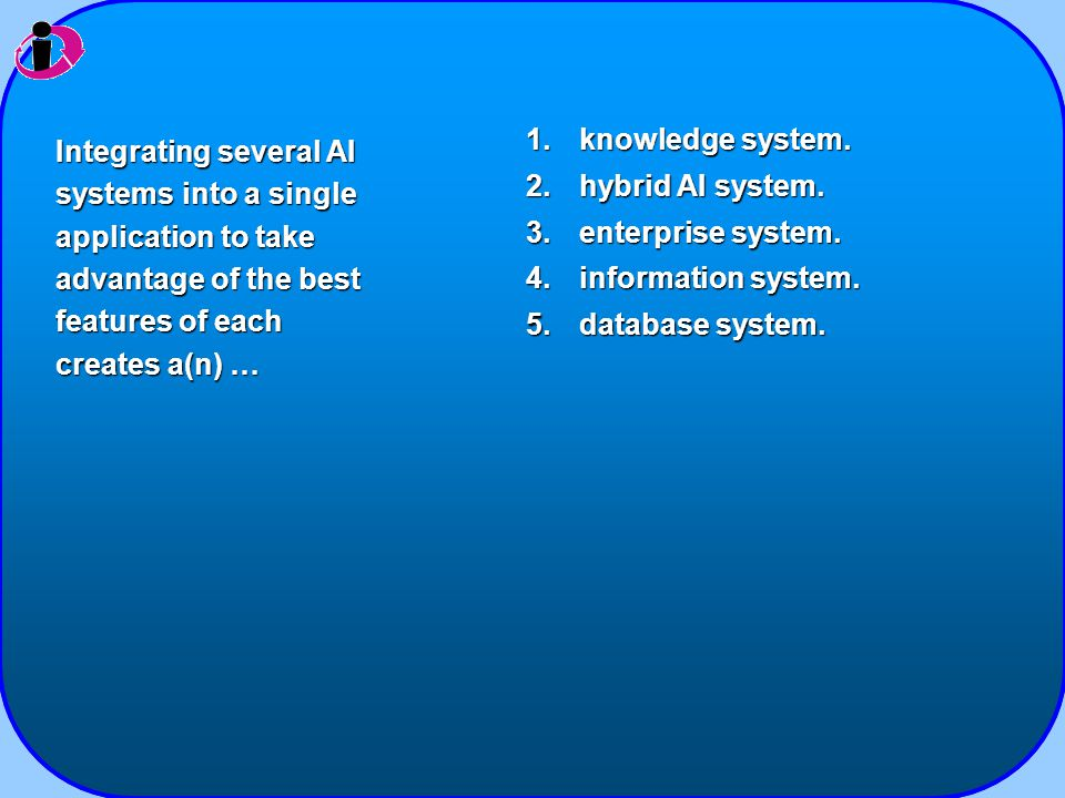 1.knowledge system. 2.hybrid AI system. 3.enterprise system.