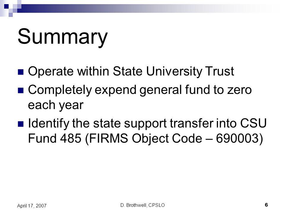 D. Brothwell, CPSLO7 April 17, 2007 Sample CPA General Fund AO/CPO Transfer