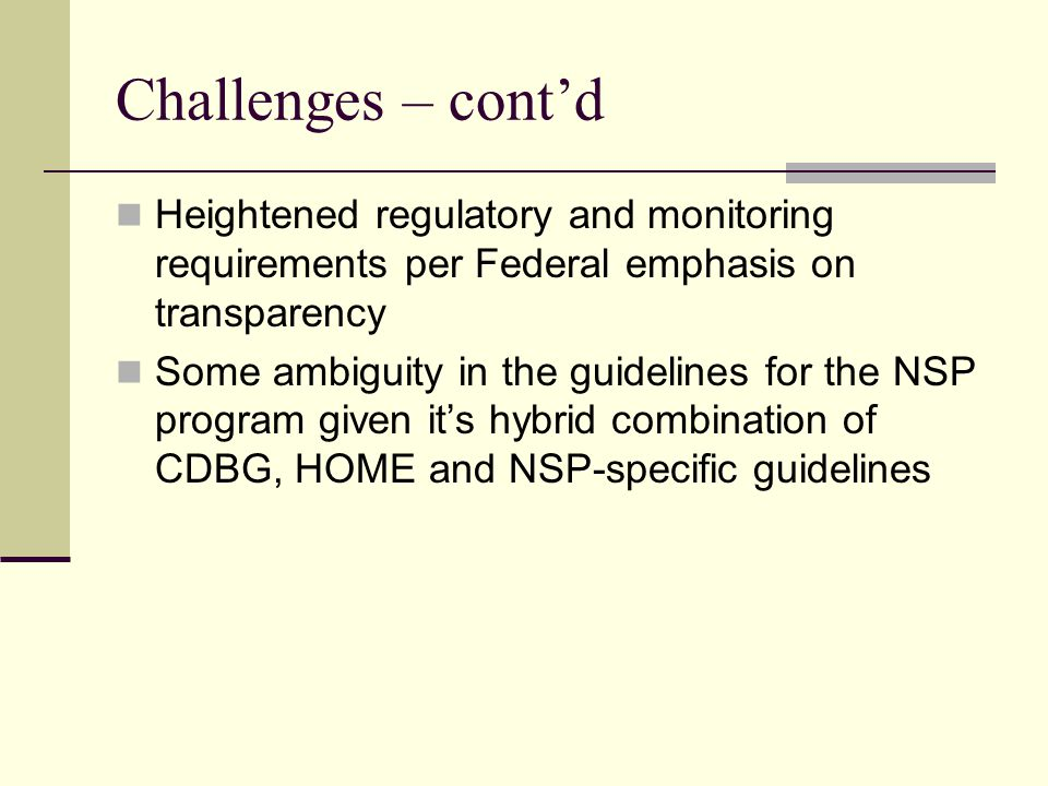Challenges – cont'd Heightened regulatory and monitoring requirements per Federal emphasis on transparency Some ambiguity in the guidelines for the NSP program given it's hybrid combination of CDBG, HOME and NSP-specific guidelines