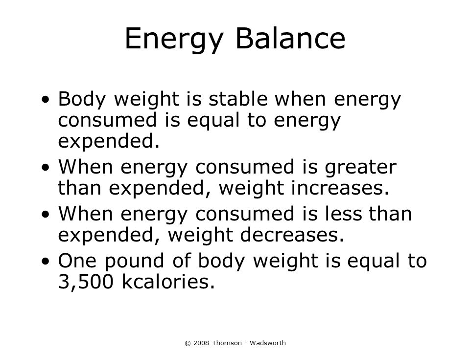 Energy Out: The kCalories the Body Expends Components of Energy Expenditure Basal Metabolism (basal metabolic rate, BMR) 2/3 of energy expenditure Supports the basic processes of life Resting metabolic rate (RMR) is a measure of energy slightly higher than BMR.