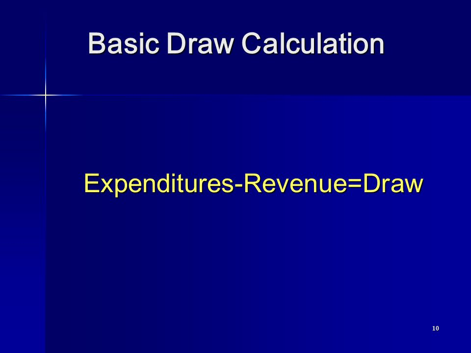 10 Basic Draw Calculation Expenditures-Revenue=Draw