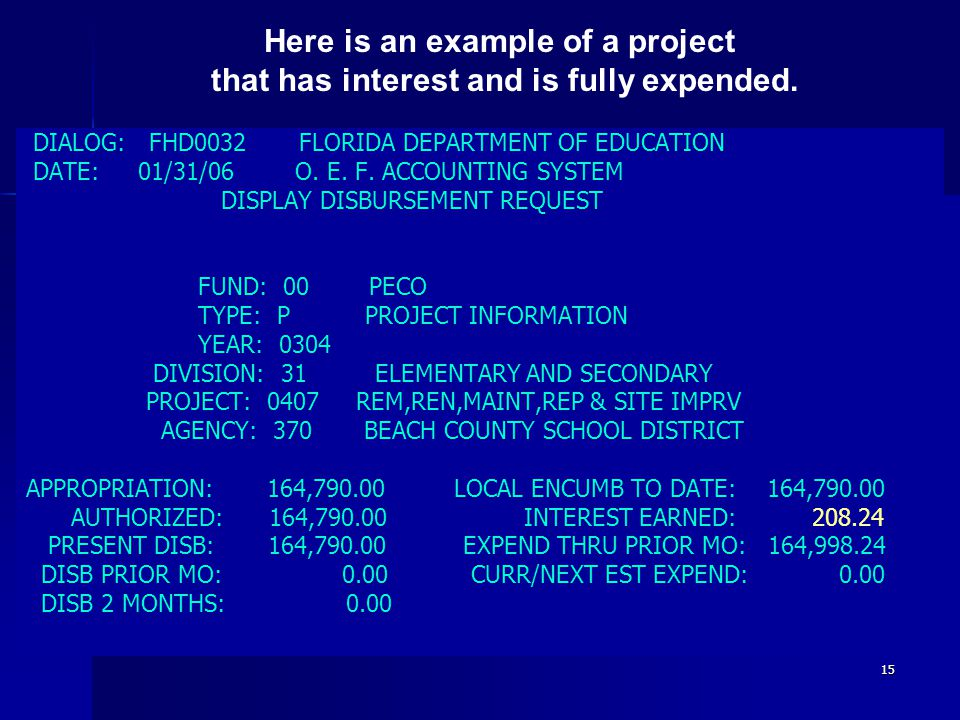 15 DIALOG: FHD0032 FLORIDA DEPARTMENT OF EDUCATION DATE: 01/31/06 O.