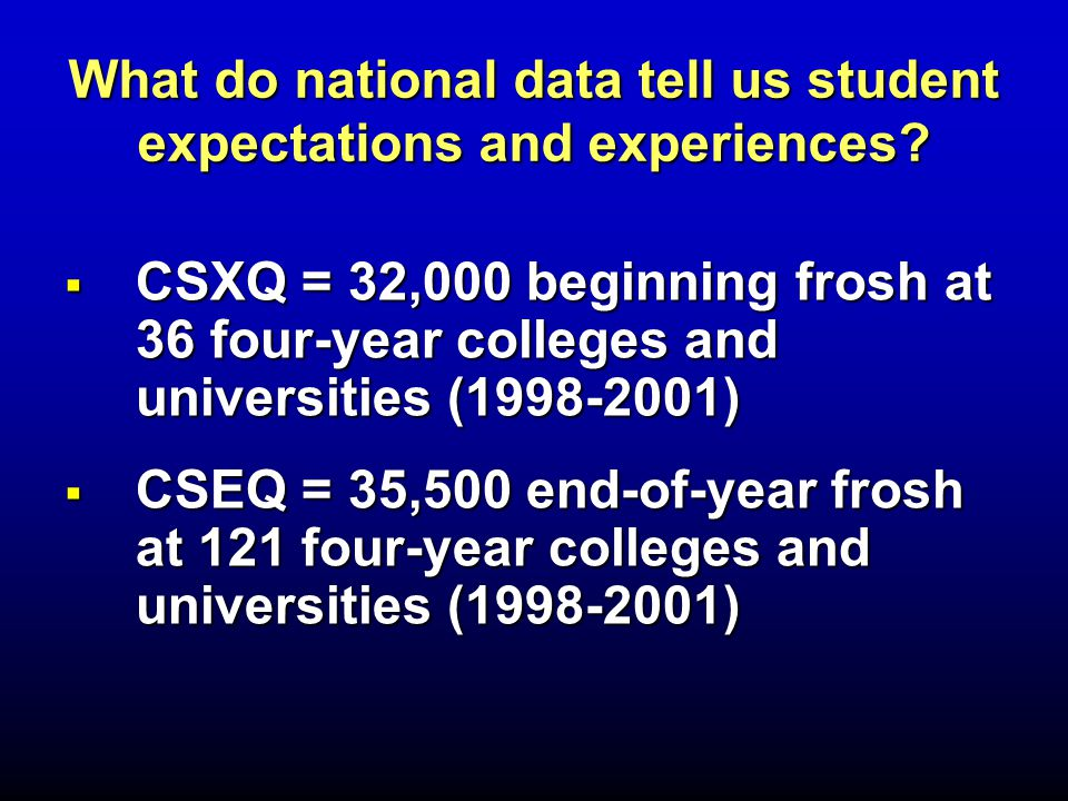  CSXQ = 32,000 beginning frosh at 36 four-year colleges and universities (1998-2001)  CSEQ = 35,500 end-of-year frosh at 121 four-year colleges and universities (1998-2001) What do national data tell us student expectations and experiences