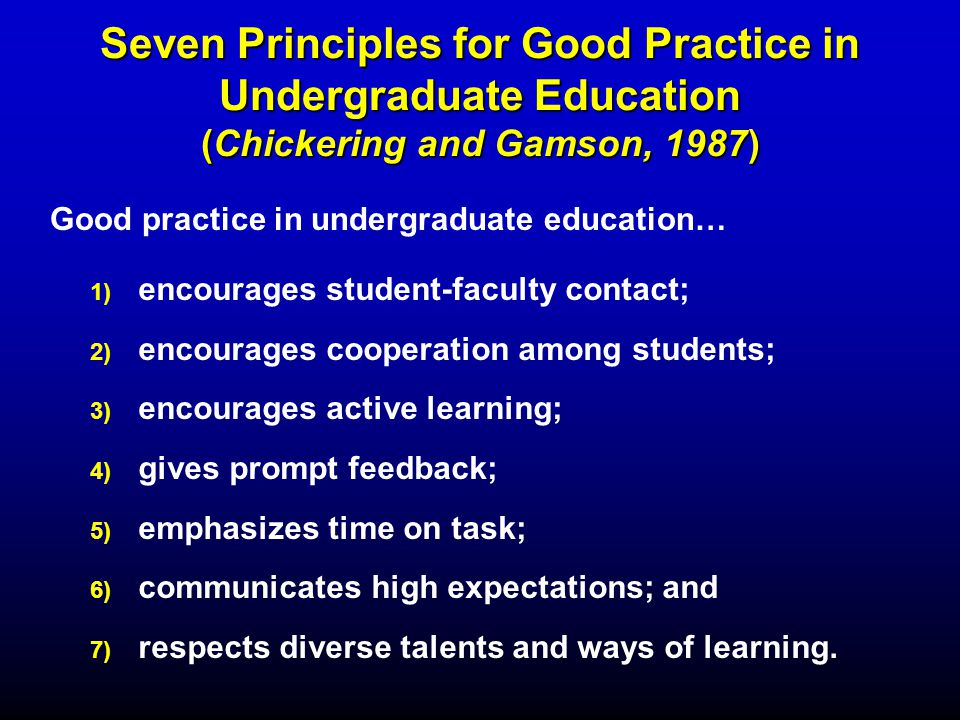 Seven Principles for Good Practice in Undergraduate Education (Chickering and Gamson, 1987) 1) 1) encourages student-faculty contact; 2) 2) encourages cooperation among students; 3) 3) encourages active learning; 4) 4) gives prompt feedback; 5) 5) emphasizes time on task; 6) 6) communicates high expectations; and 7) 7) respects diverse talents and ways of learning.