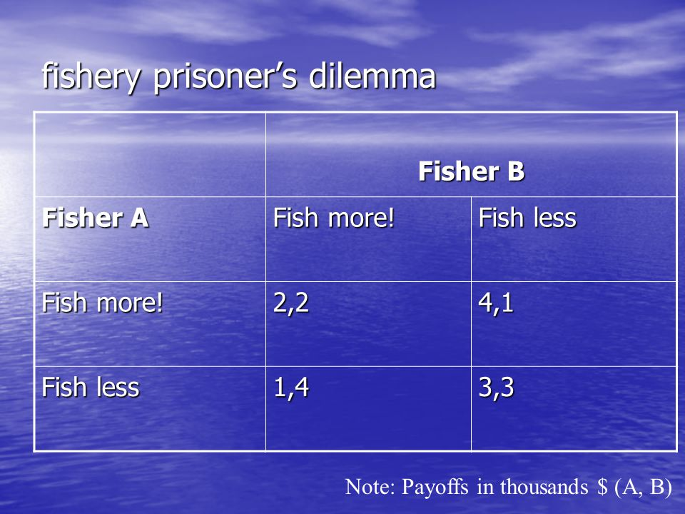 fishery prisoner's dilemma Fisher B Fisher A Fish more.