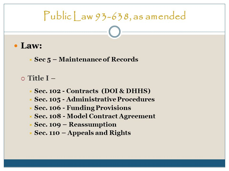 Public Law 93-638, as amended Regulations: 25 CFR, Ch.