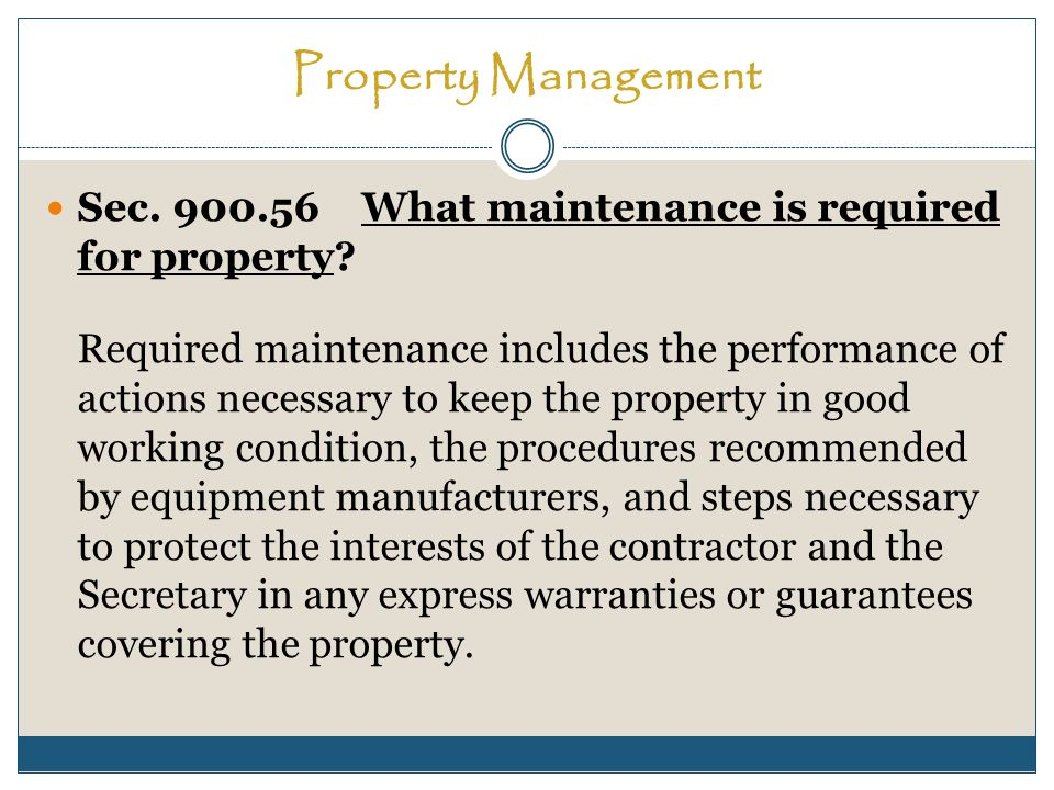 Property Management Sec. 900.56What maintenance is required for property.