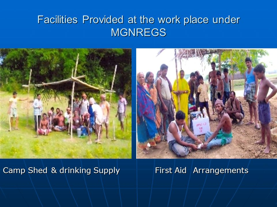Facilities Provided at the work place under MGNREGS Camp Shed & drinking Supply First Aid Arrangements