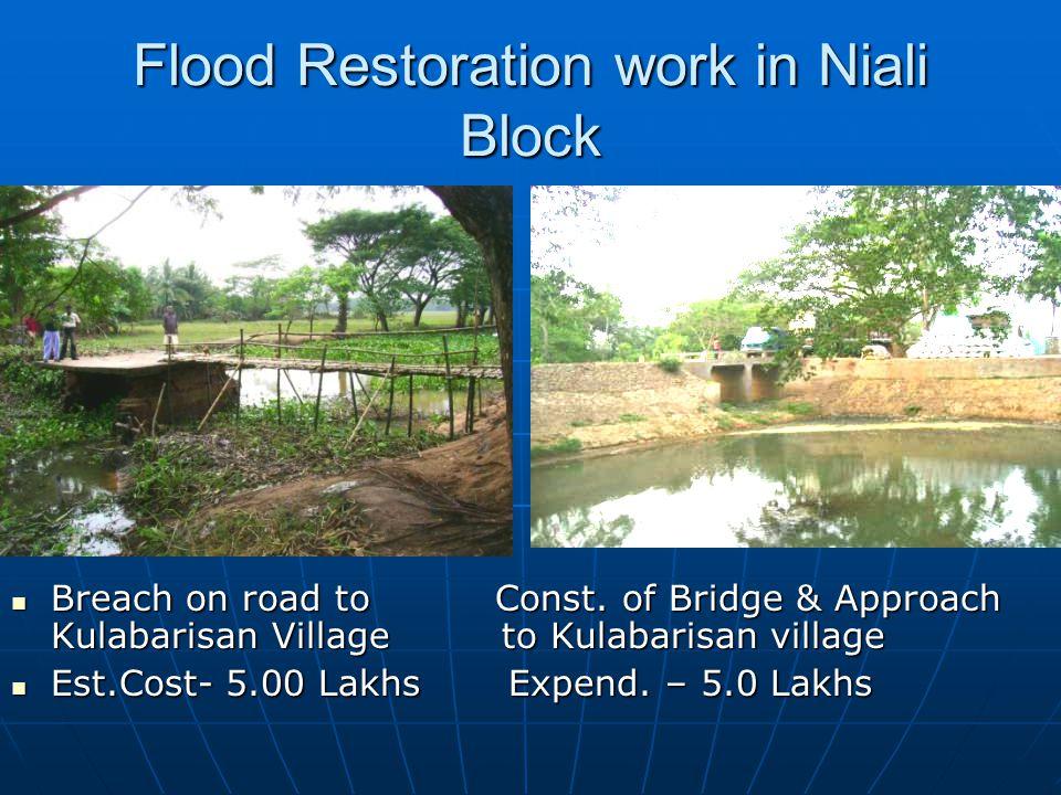 Flood Restoration work in Niali Block Breach on road to Const.