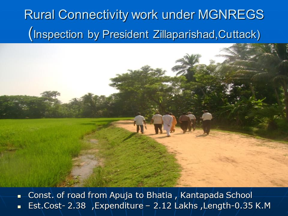 Rural Connectivity work under MGNREGS ( Inspection by President Zillaparishad,Cuttack) Const. of road from Apuja to Bhatia, Kantapada School Const. of