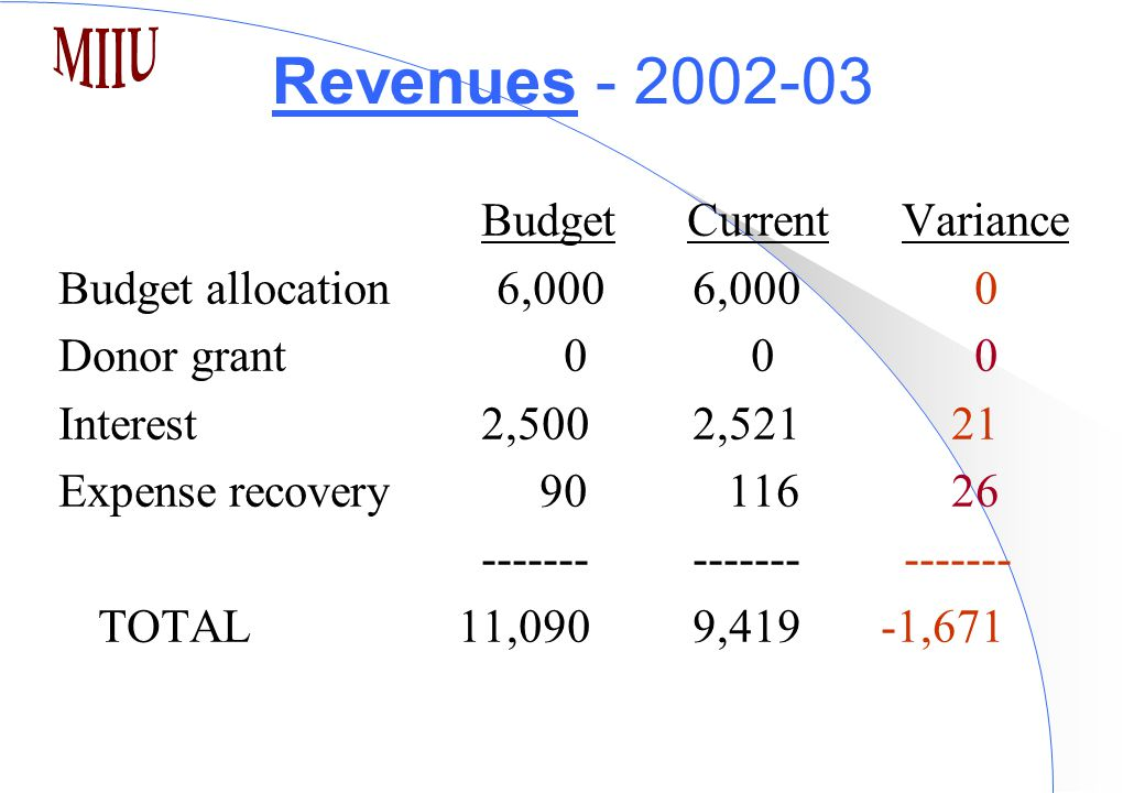 Revenues - 2002-03 Budget Current Variance Budget allocation 6,0006,000 0 Donor grant 0 0 0 Interest2,5002,521 21 Expense recovery 90 116 26 ---------