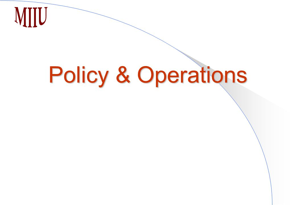 Policy & Operations