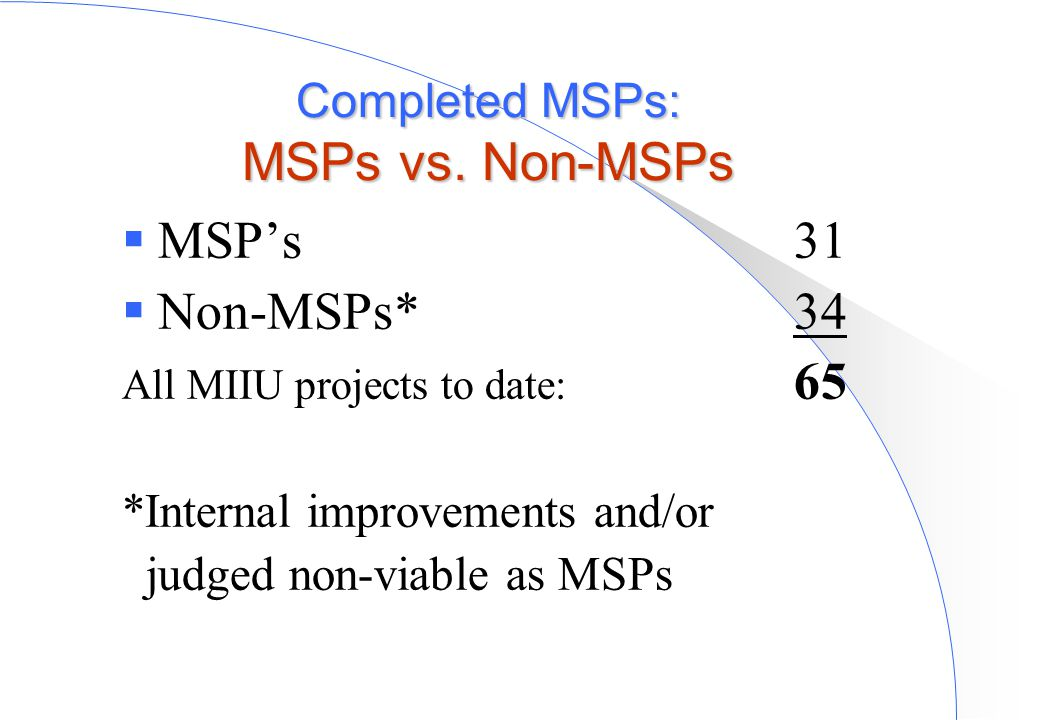  MSP's31  Non-MSPs*34 All MIIU projects to date: 65 *Internal improvements and/or judged non-viable as MSPs Completed MSPs: MSPs vs. Non-MSPs