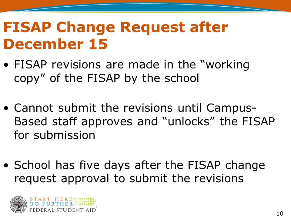 "FISAP Change Request after December 15 FISAP revisions are made in the ""working copy"" of the FISAP by the school Cannot submit the revisions until Cam"